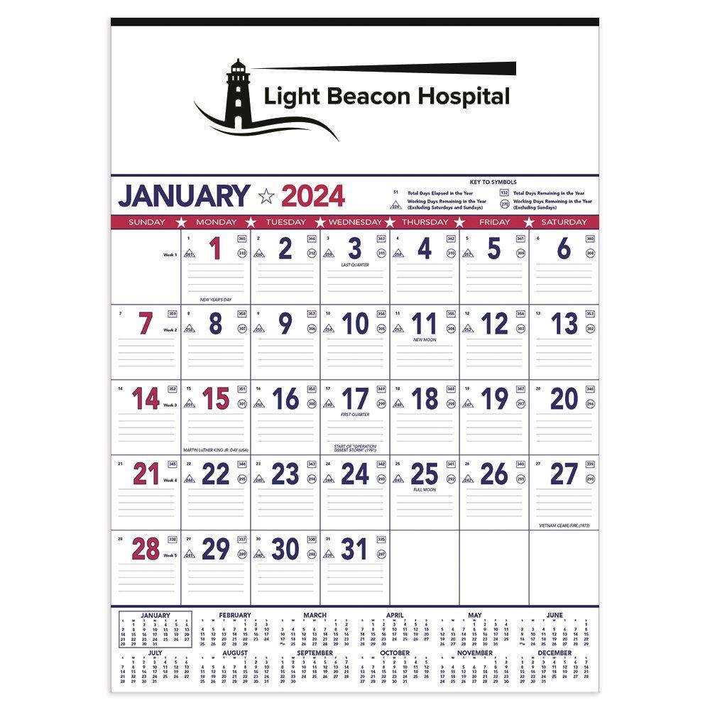 Patriotic Contractor Memo Calendar (13 Sheet) -�Add Your Personalization