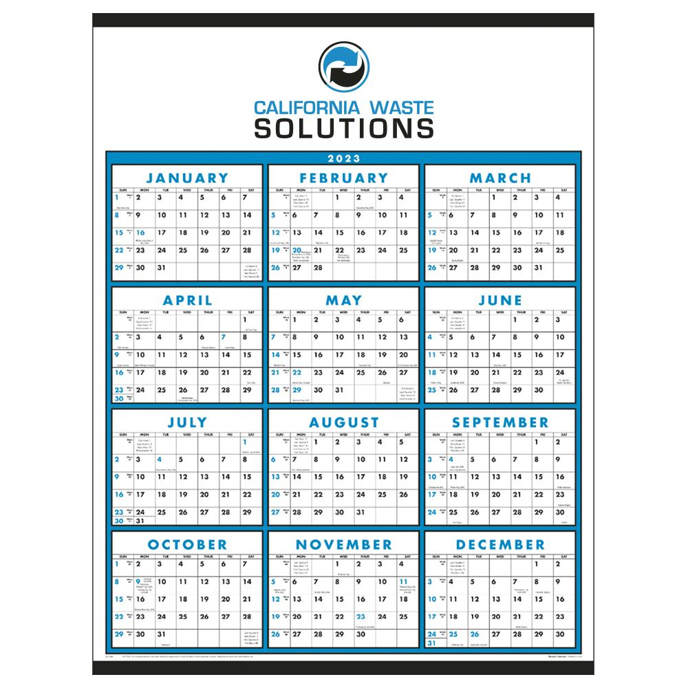 Span-A-Year Non-Laminated 2022 Time Management Wall Calendar - Personalization Available