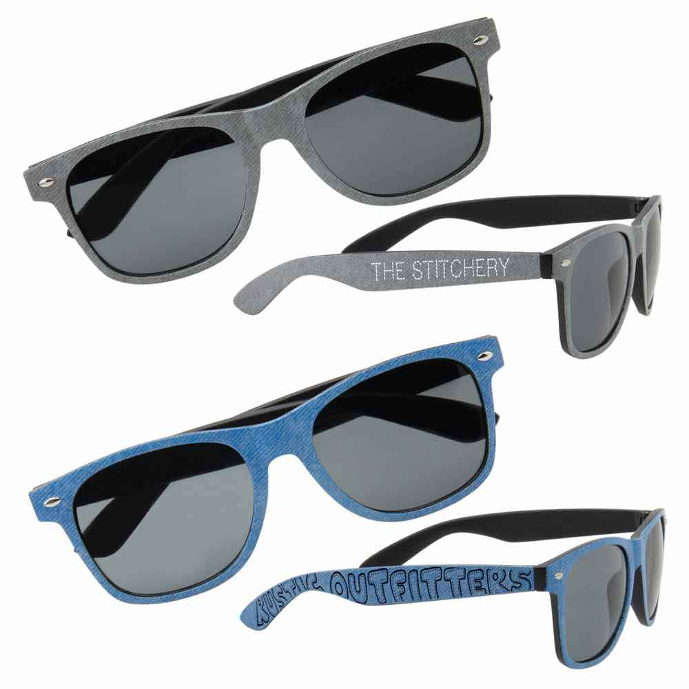 Denim Print Sunglasses - Personalization Available