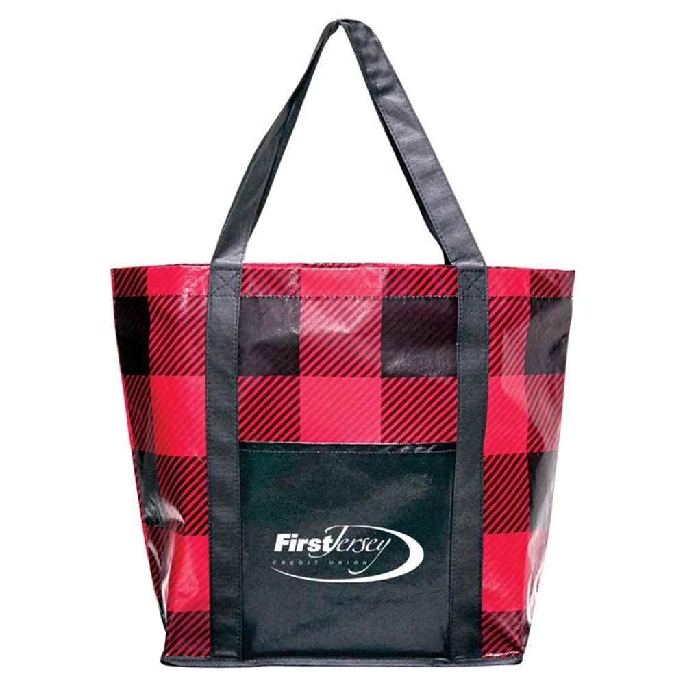 Buffalo Plaid Laminated Shopper Tote - Personalization Available