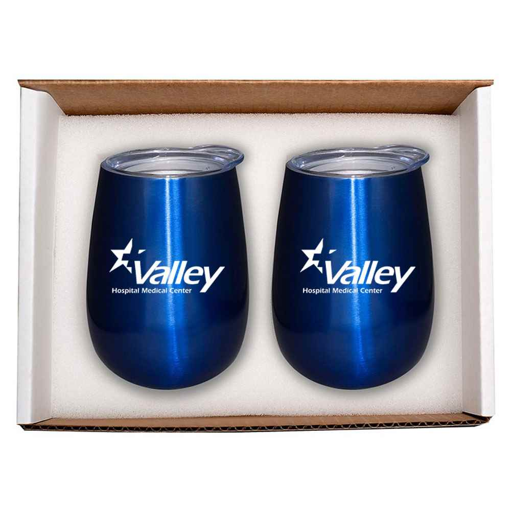 Stainless Steel Stemless Wine Tumbler 10-Oz. Gift Set - Personalization Available