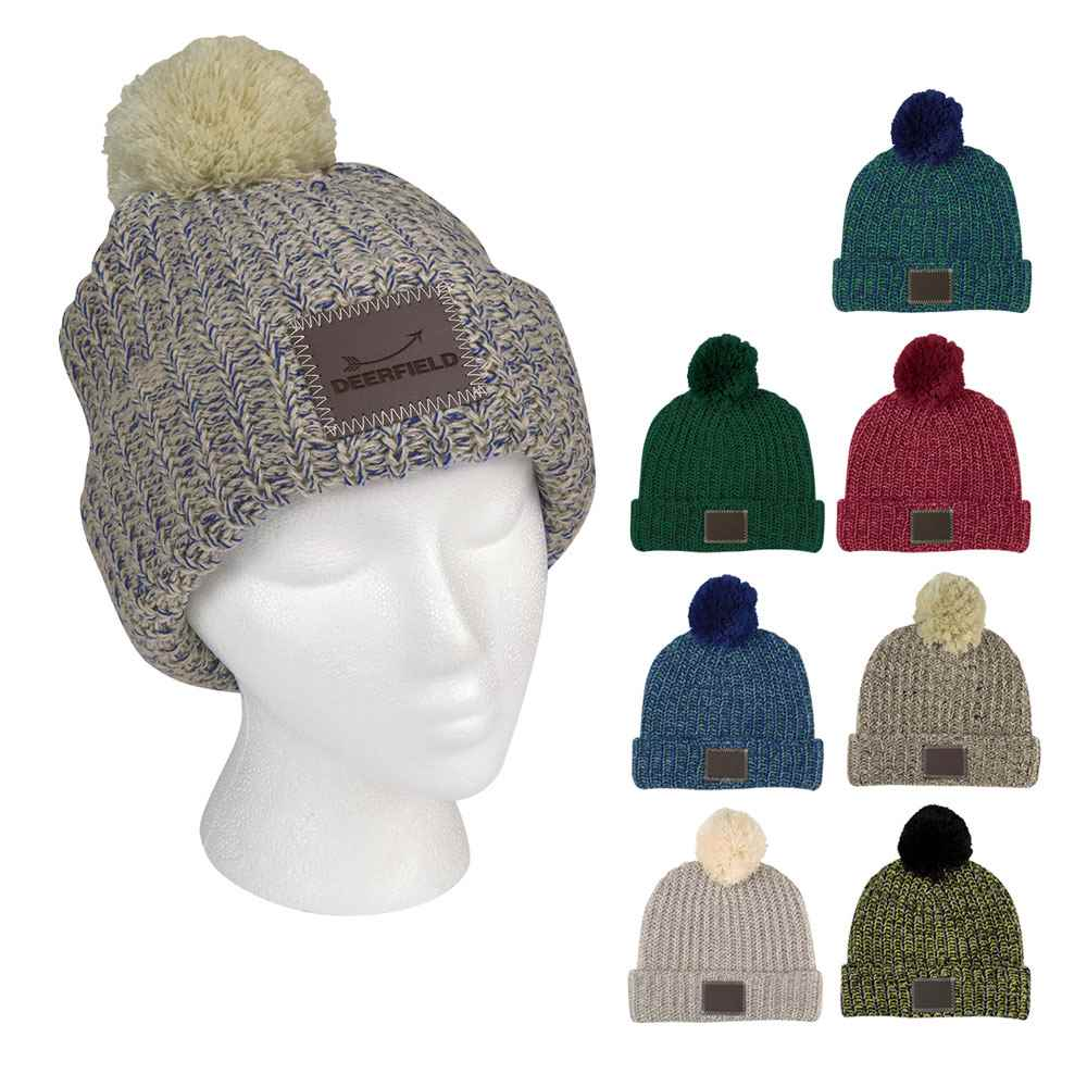 Grace Collection Pom Beanie With Cuff - Personalization Available