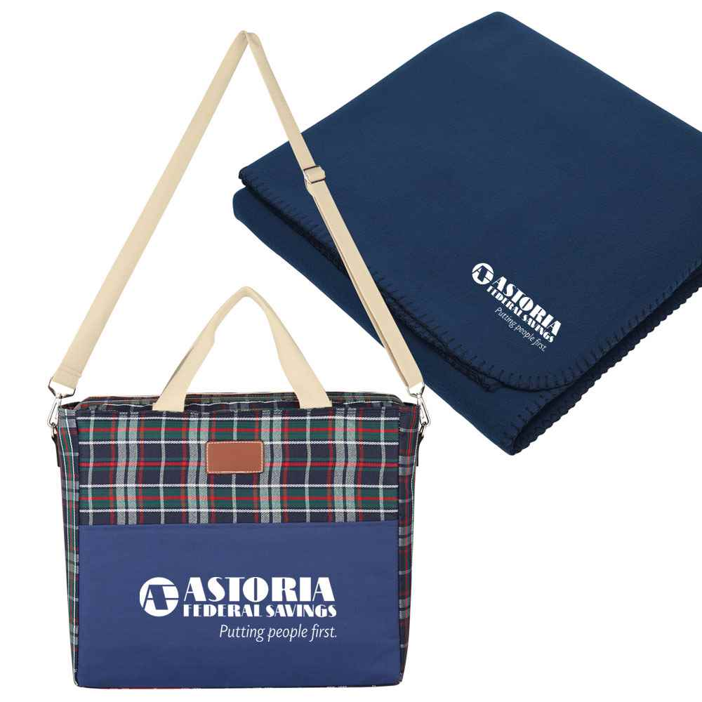 Tartan Kooler Bag With Fleece Blanket - Personalization Available