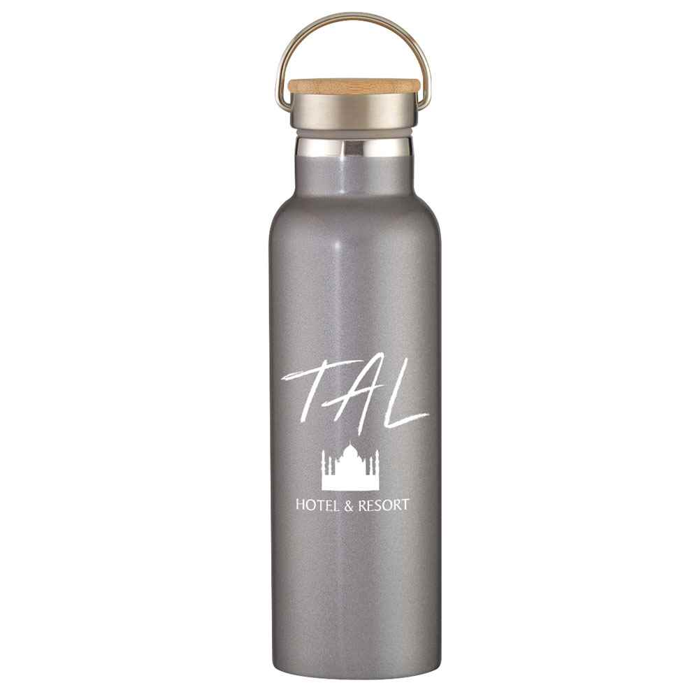 Liberty Stainless Steel Bottle With Wood Lid 21-Oz. - Personalization Available