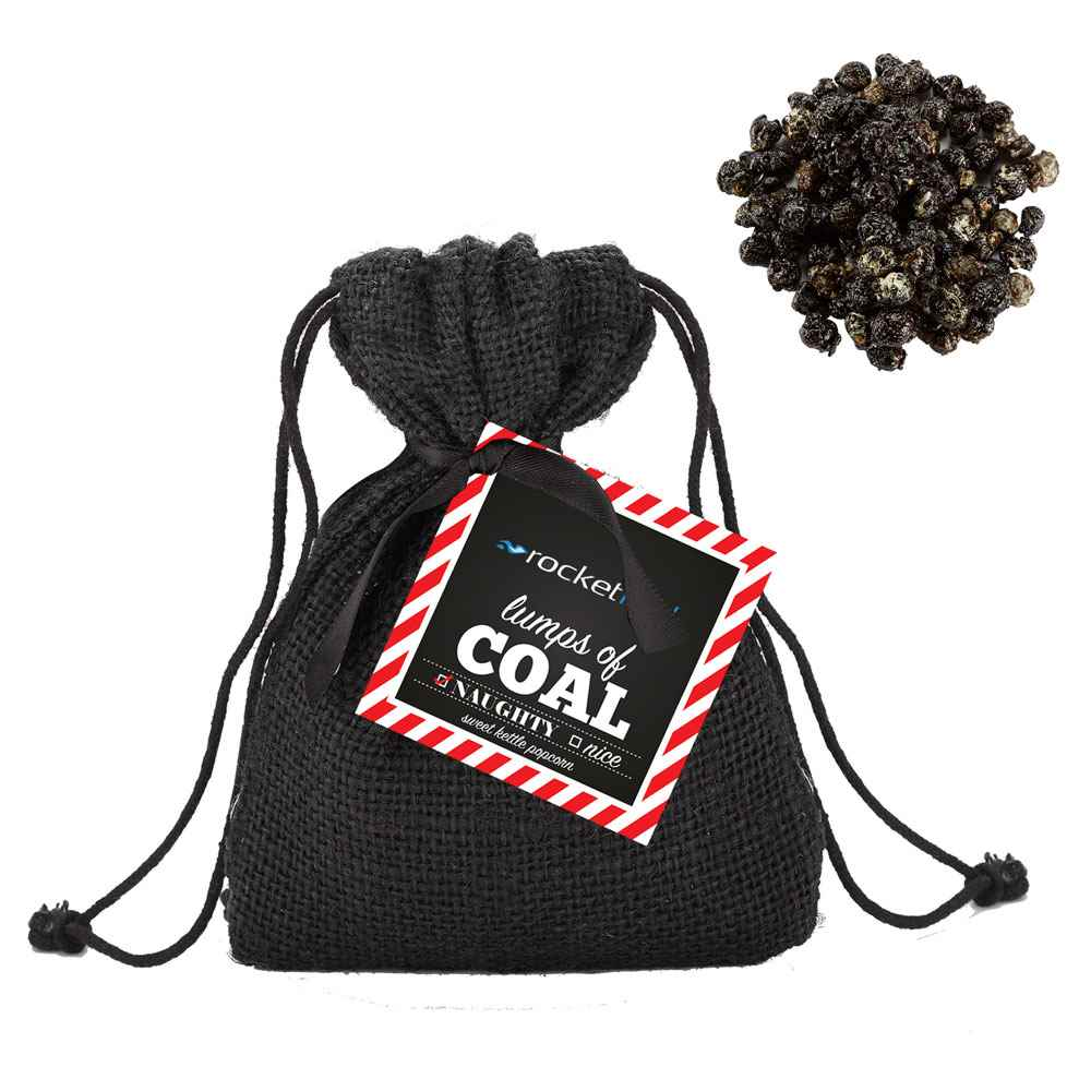 Bag of Coal with Black Sweet Kettle Popcorn - Personalization Available