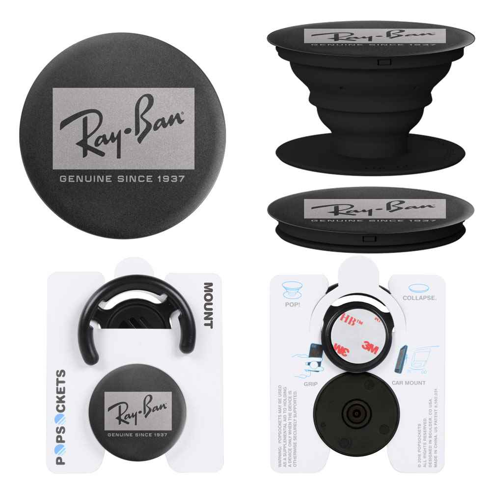 Aluminum Mount Combo PopSockets® PopGrip - Laser Engraved Personalization Available