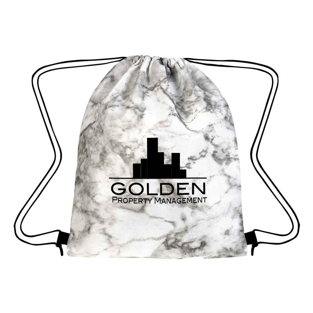 Marbled Non-Woven Drawstring Bag - Personalization Available