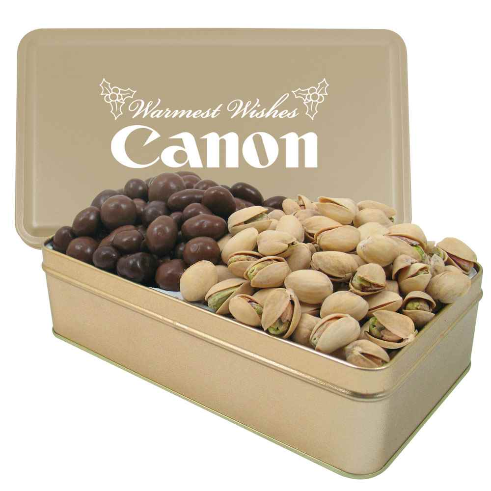 2 Way Rectangle Tin - Large with Chocolate Covered Almonds & Pistachio Nuts - Personalization Available
