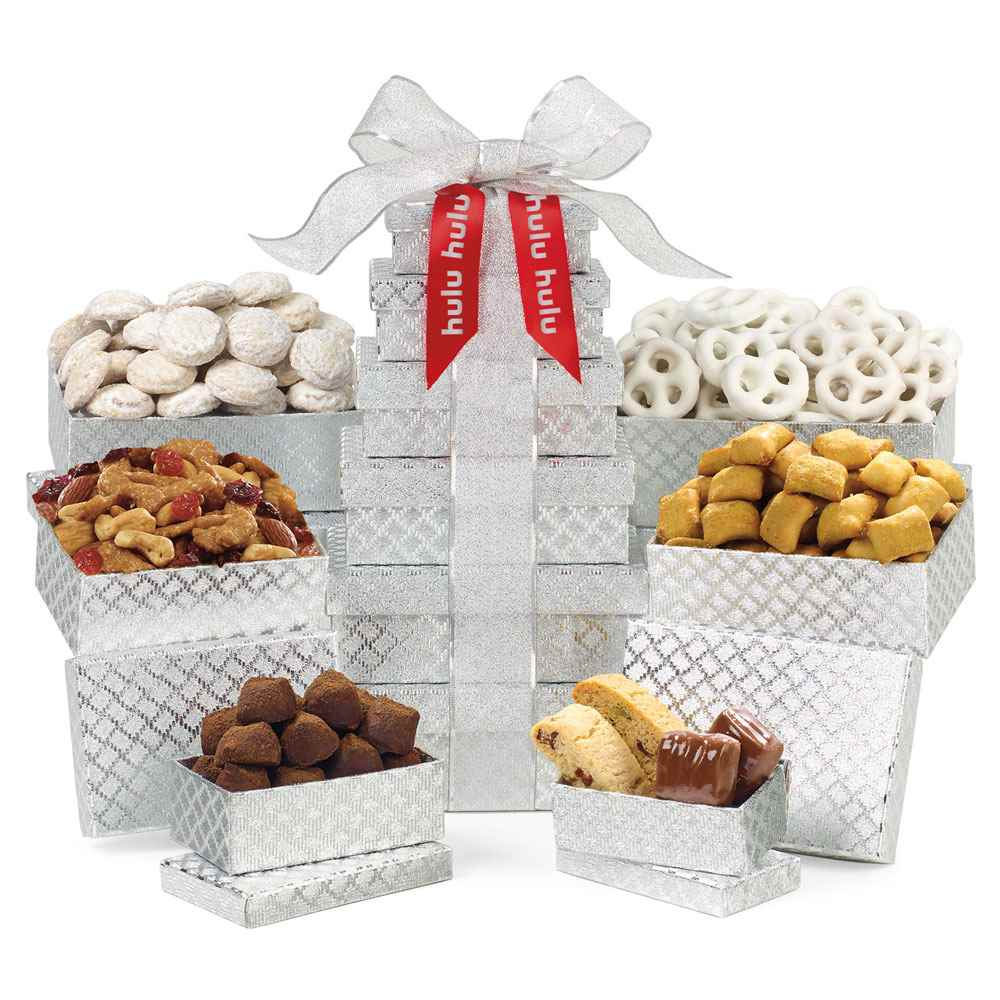 Shimmering Sweets and Snacks Gourmet Tower