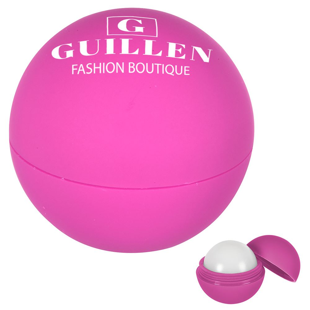 Rubberized Lip Moisturizer Ball With Holder - Personalization Available