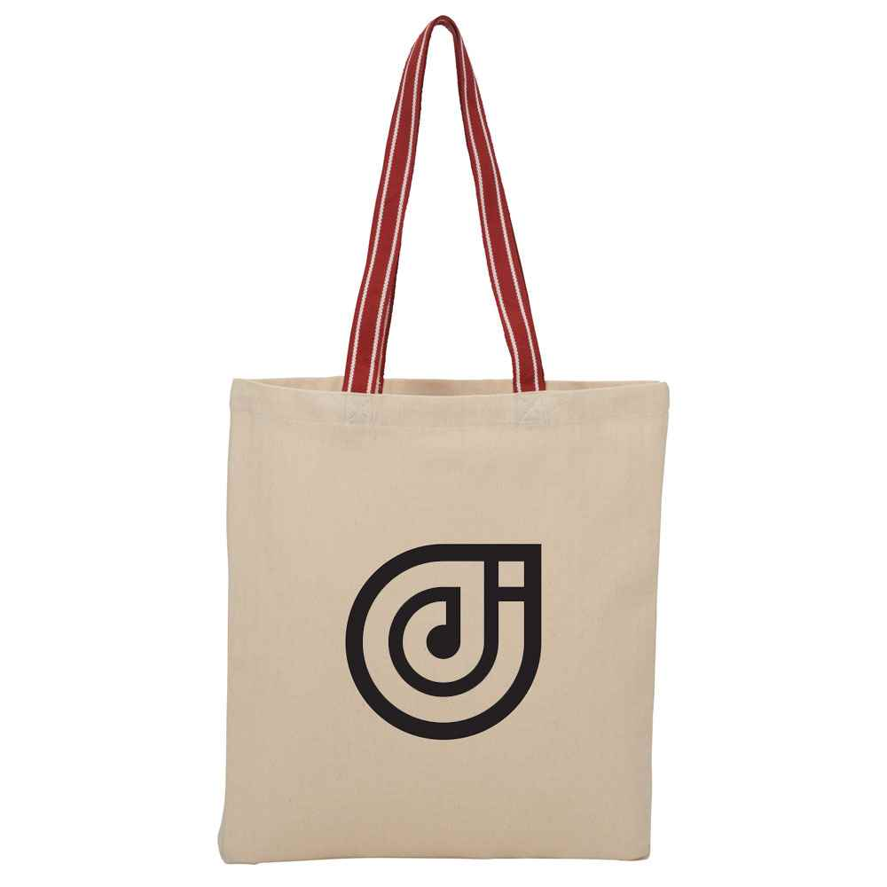 Stripe Handle 6-oz Cotton Canvas Convention Tote - Personalization Available