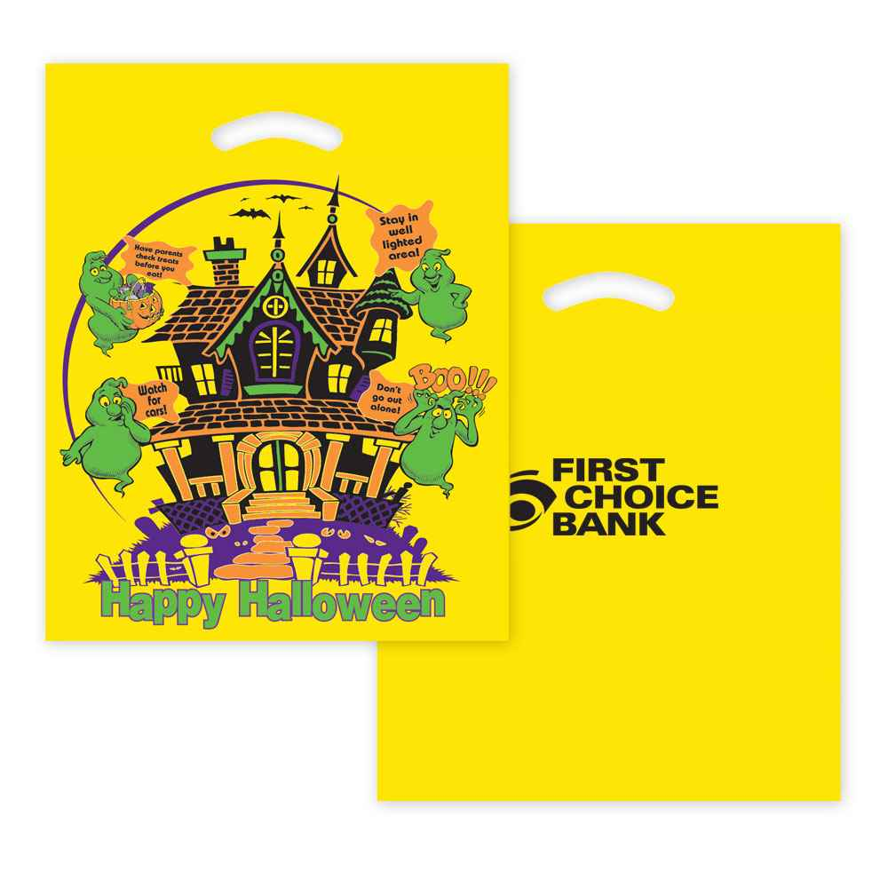 Halloween Haunted House Plastic Die-Cut Bag - Yellow - Personalization Available