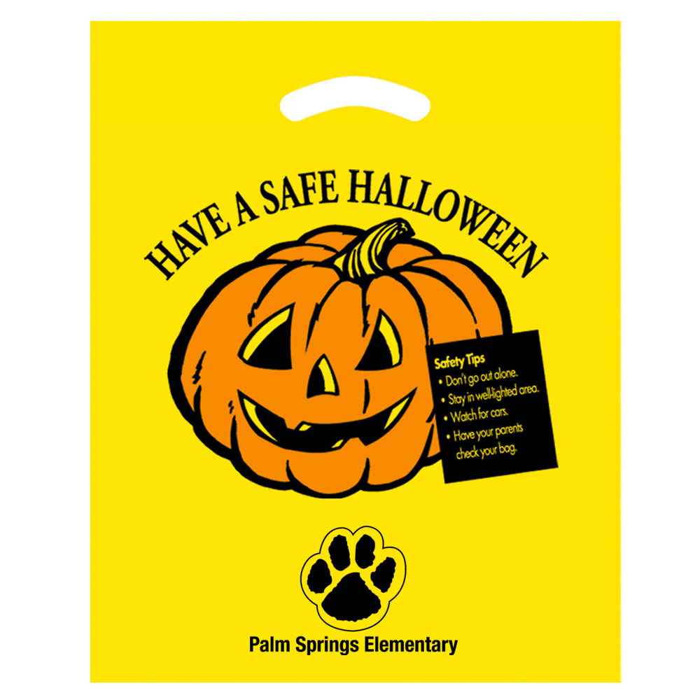 Have a Safe Halloween Plastic Die-Cut Bag - Yellow - Personalization Available