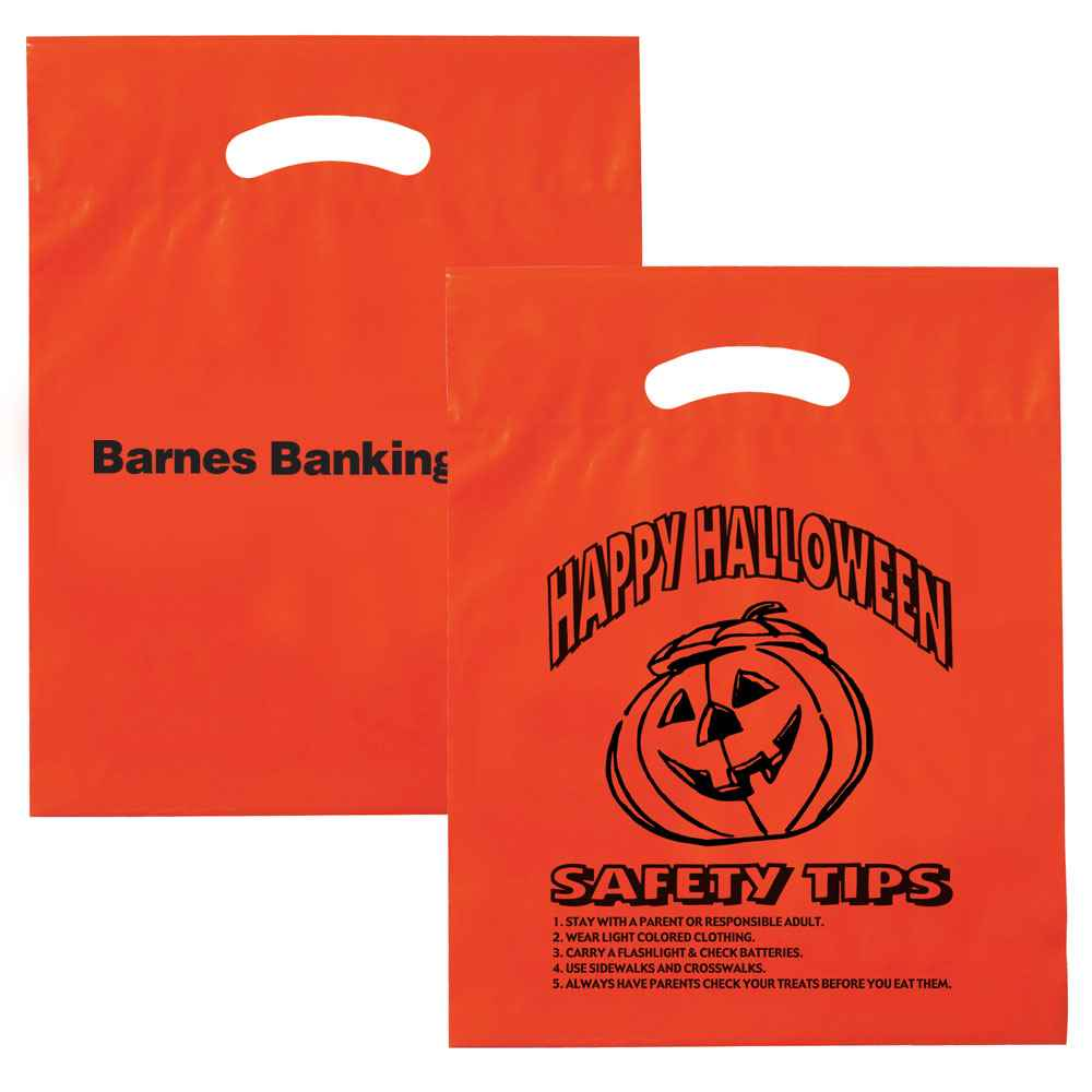 Happy Halloween Plastic Die-Cut Bag - Orange - Personalization Available
