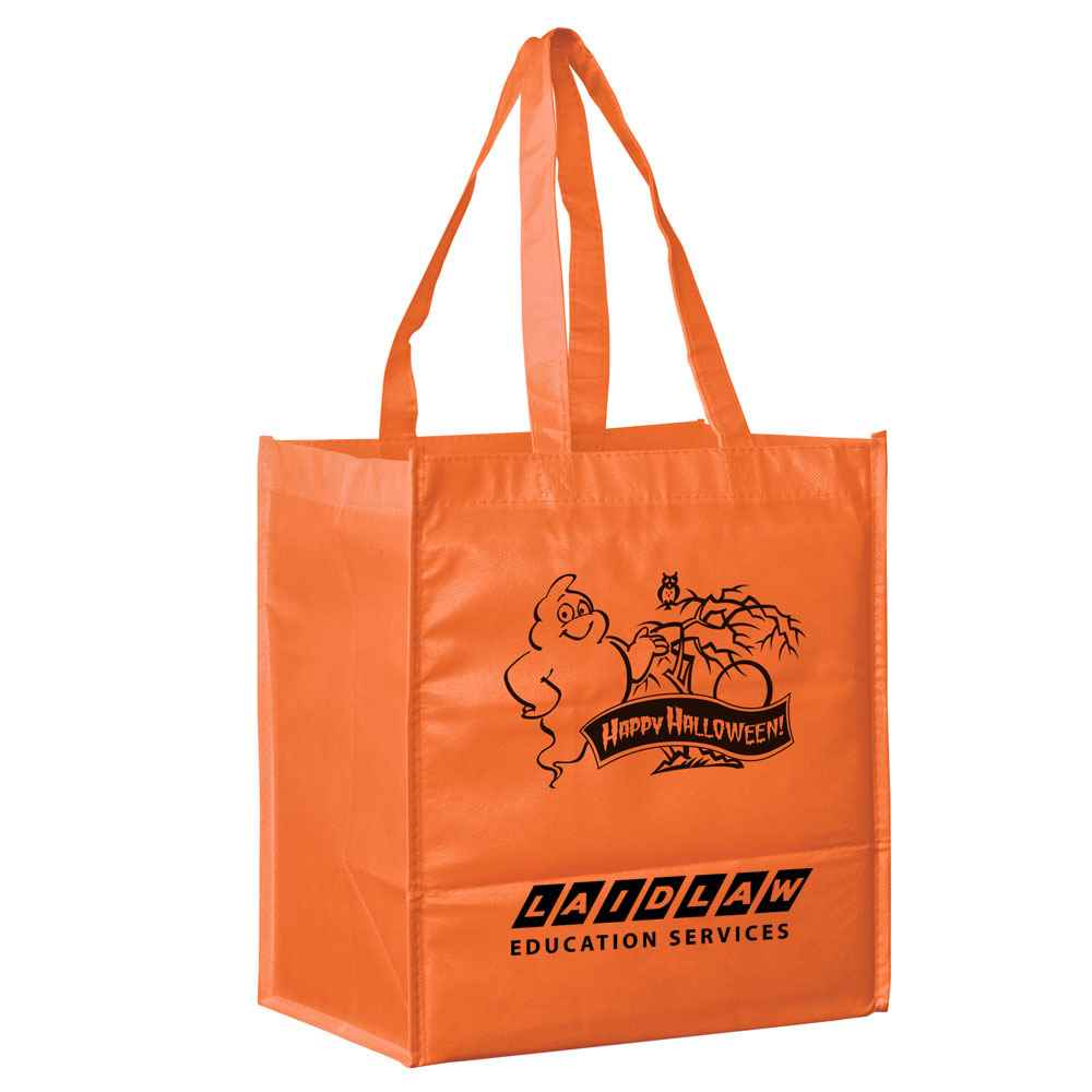 Halloween Orange Ghost Non-Woven Tote - Large - Personalization Available