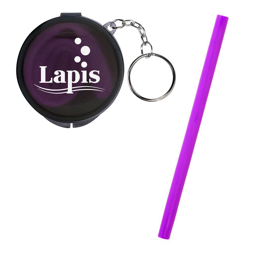 Reusable Silicone Straw Keychain - Personalization Available