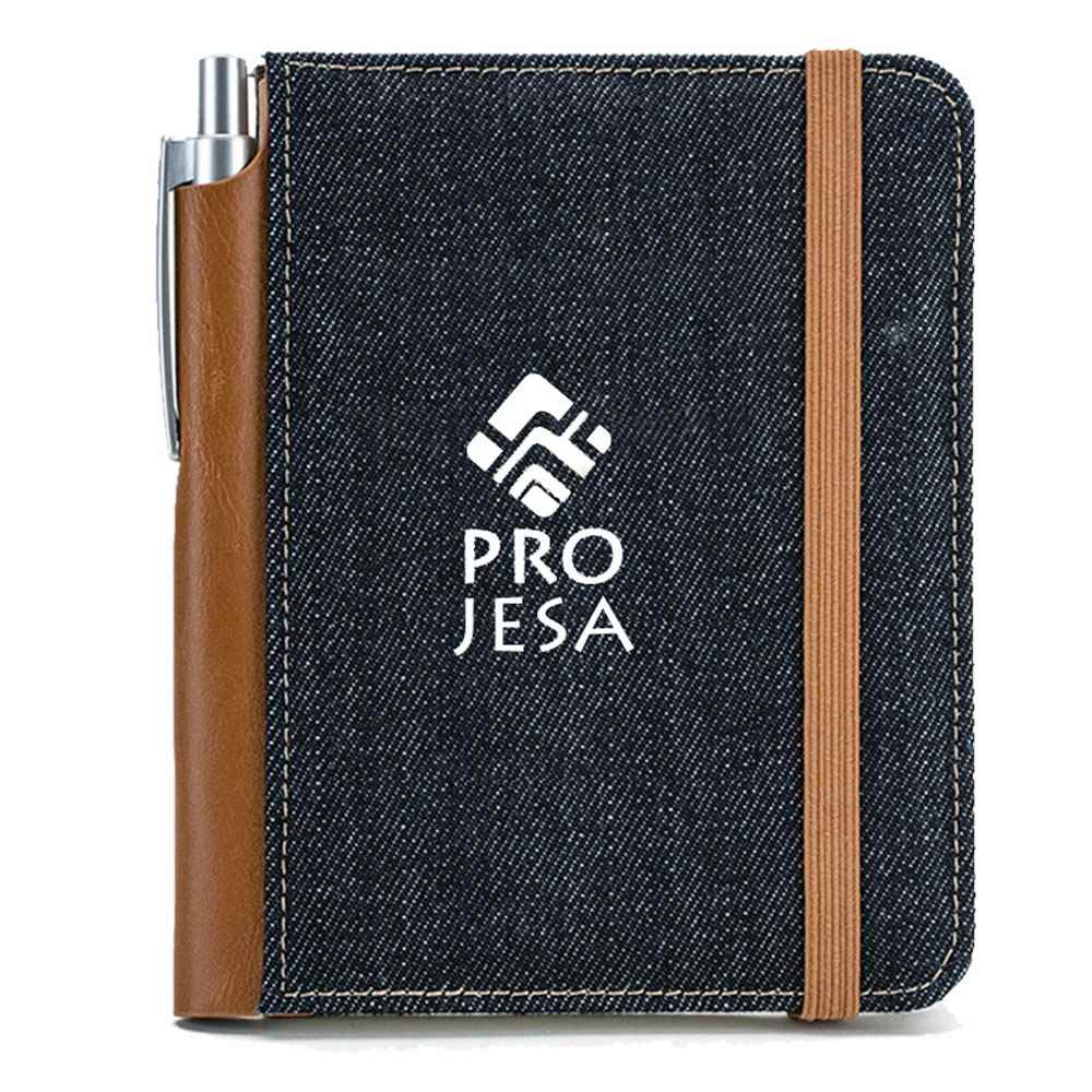 Mini Denim Notebook and Bamboo Pen Set - Personalization Available