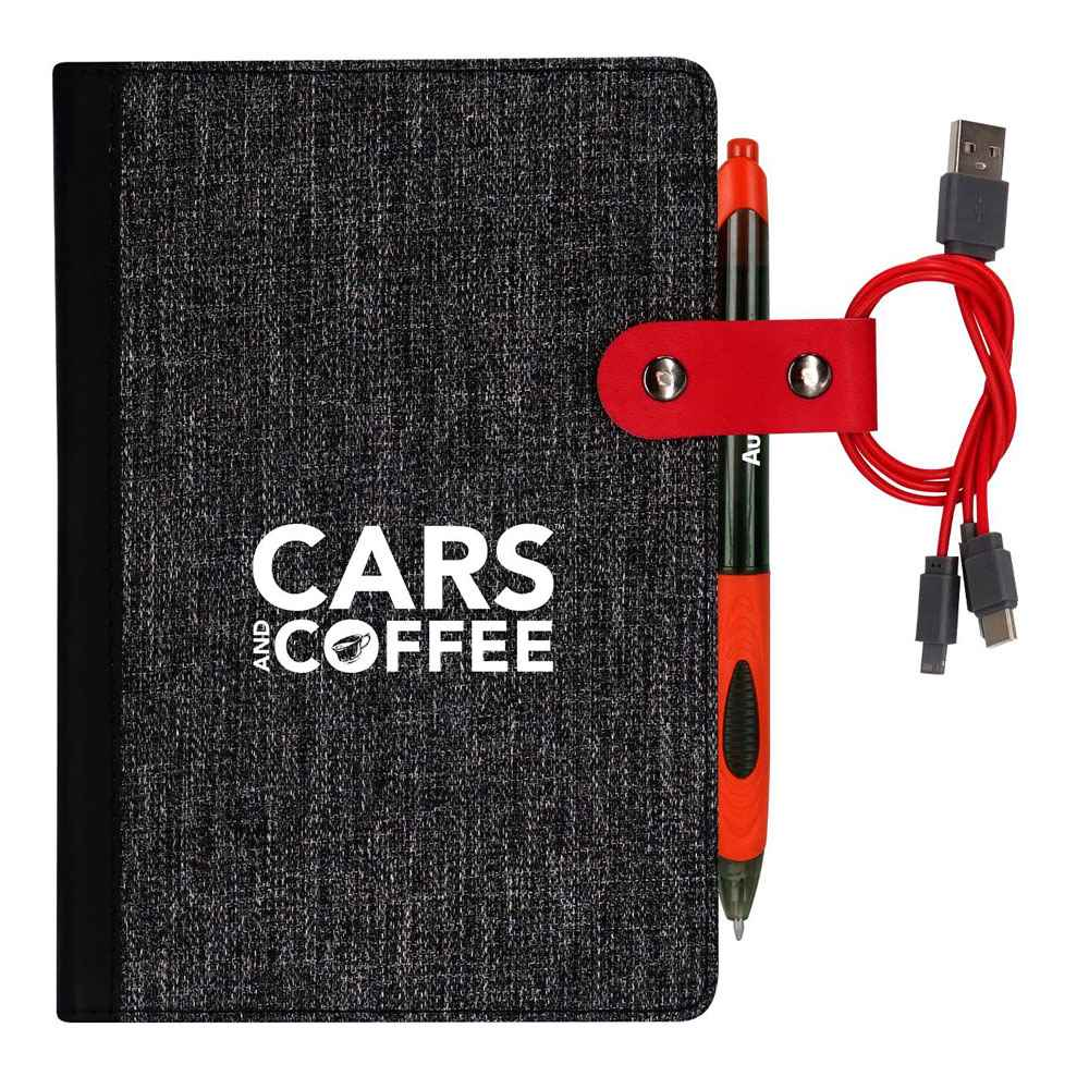 X Line Pen & Cable Snap Notebook - Personalization Available