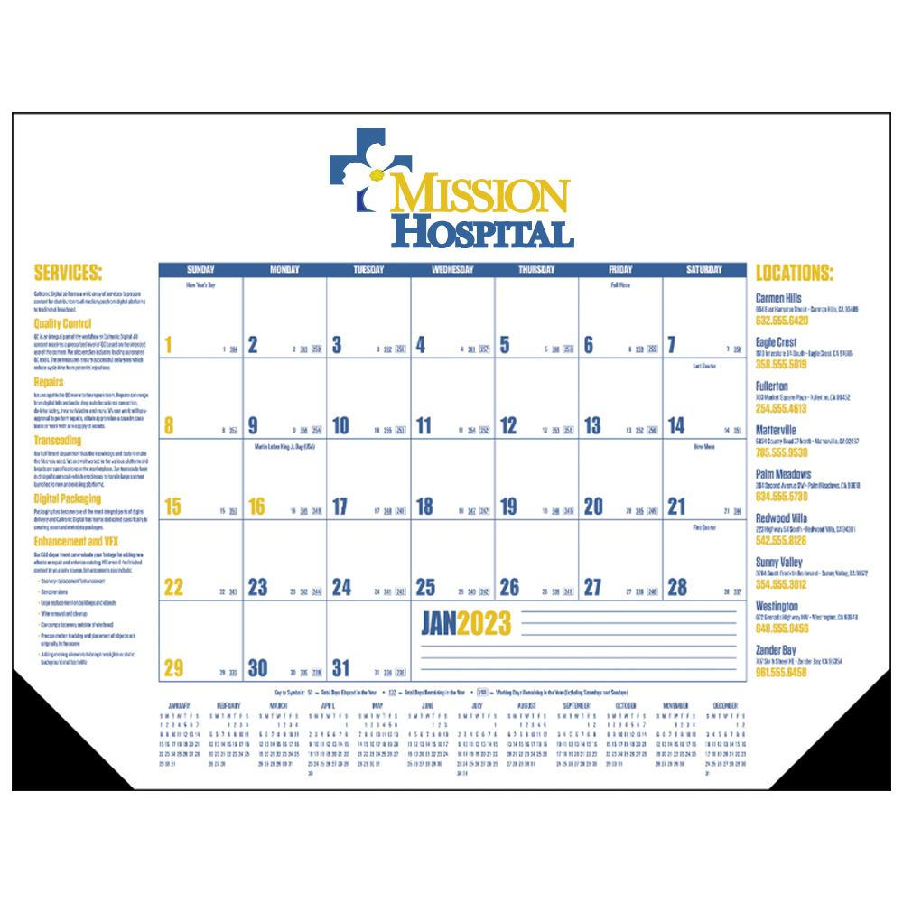Multi-Colored 2021 Desk Calendar Pad with Vinyl Corners - Full Color Personalization Available