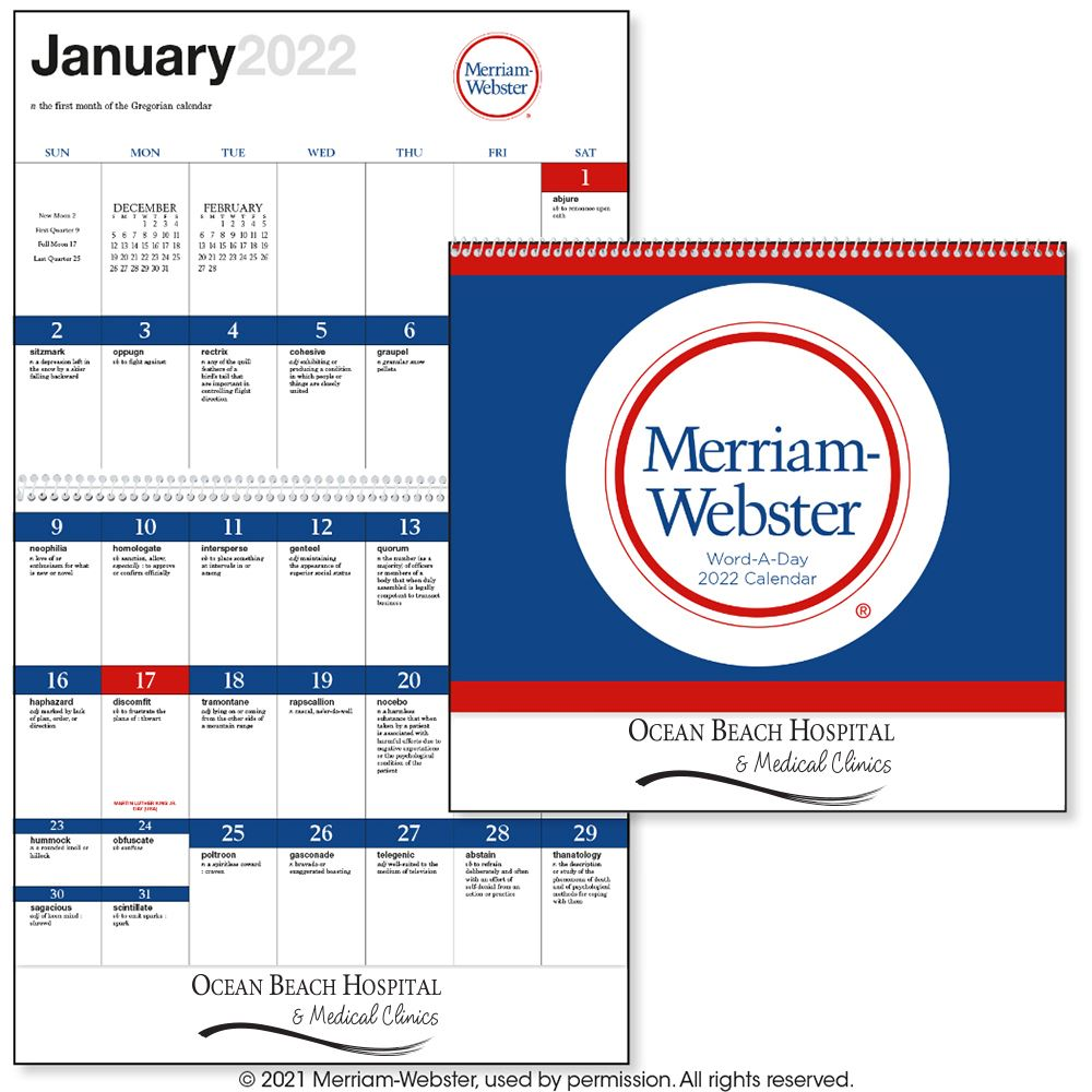 Word-A-Day by Merriam-Webster 2021 Calendar - Spiral -��Add Your Personalization