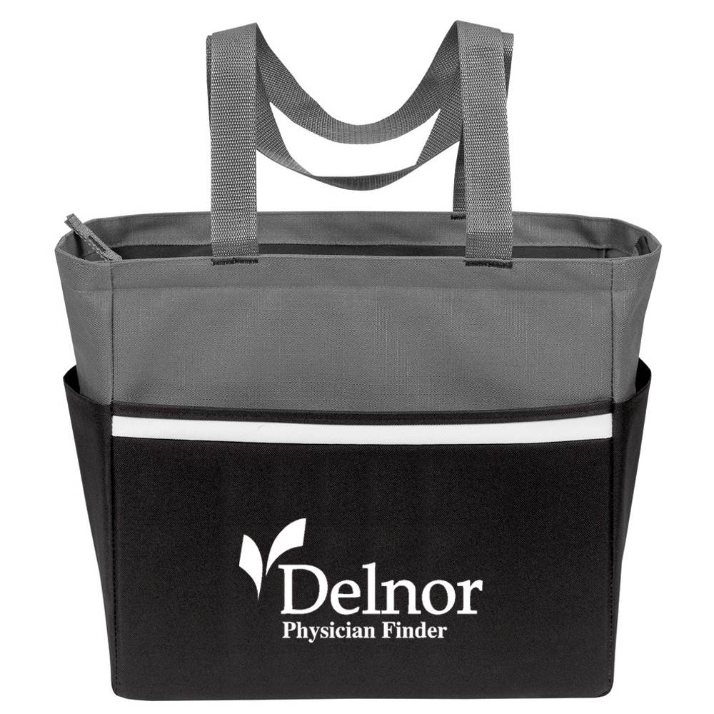 Two-Tone Accent Zip Tote - Personalization Available
