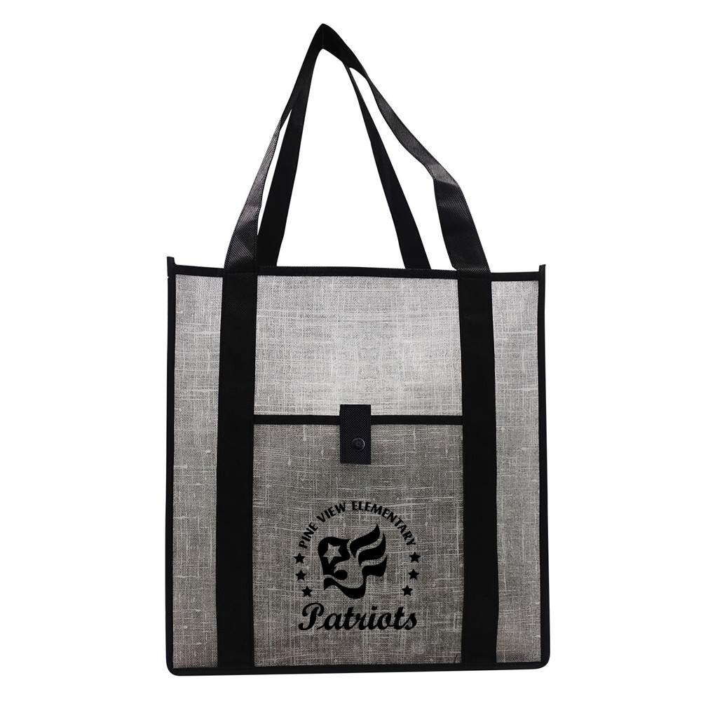 Gray Denim Grocery Tote - Personalization Available