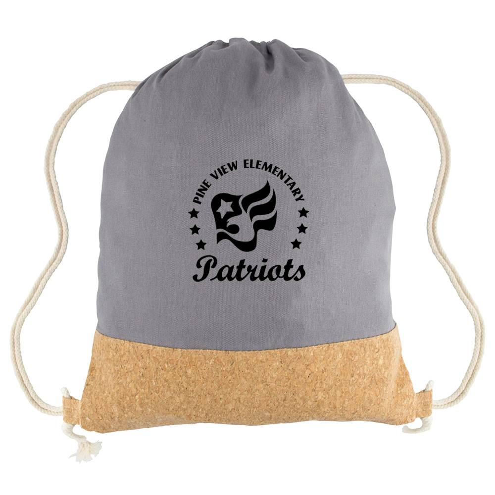 Cotton Canvas Drawstring Backpack with Cork - Personalization Available