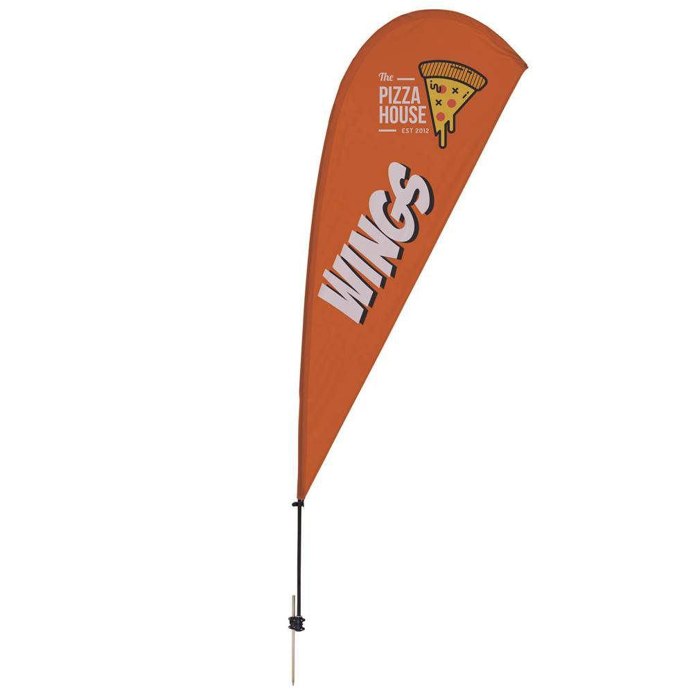 9.5' Value Teardrop Sail Sign Kit (Ground Spike) - Full-Color Dye Sublimation Personalization Available
