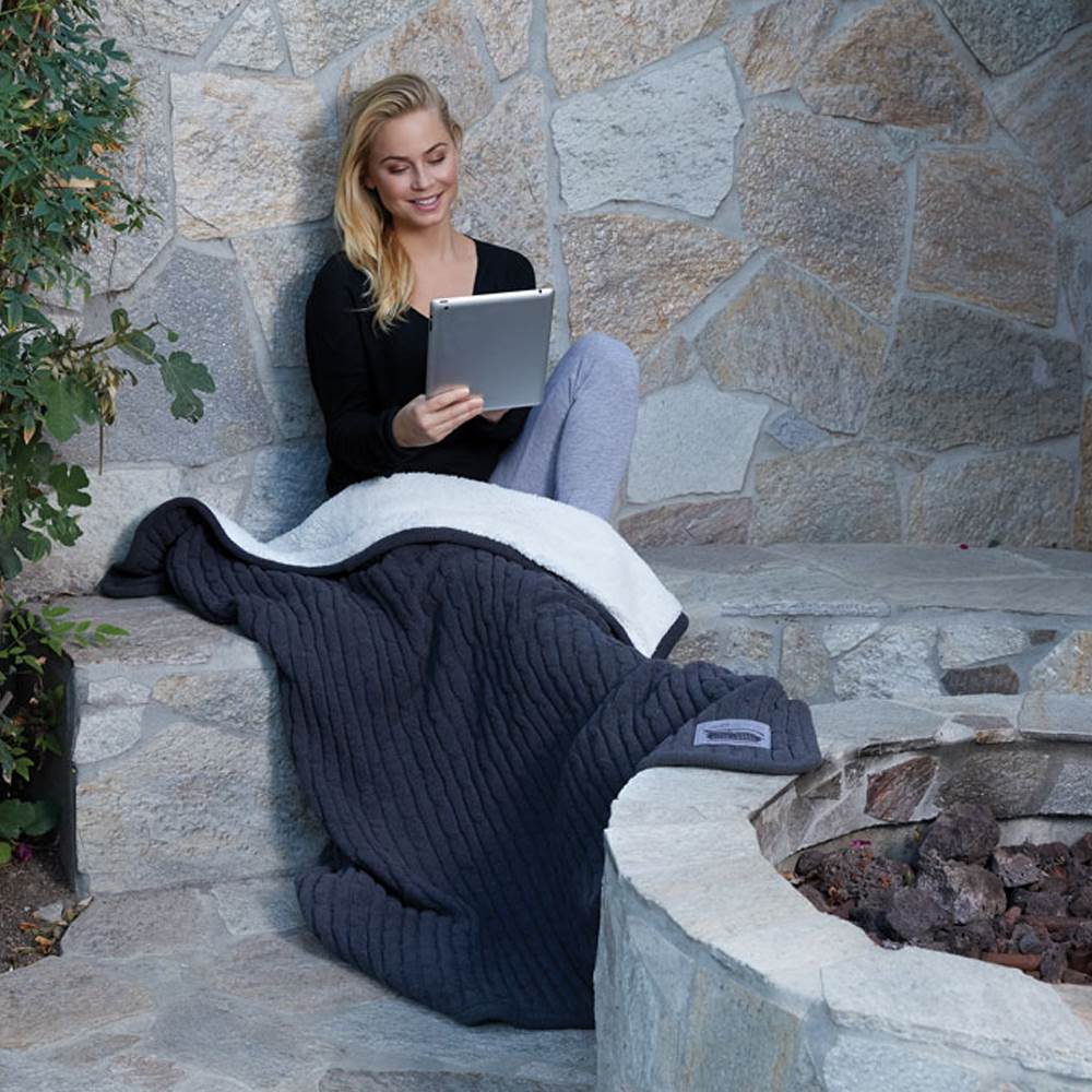 Cable Knit Lambswool Throw - Personalization Available