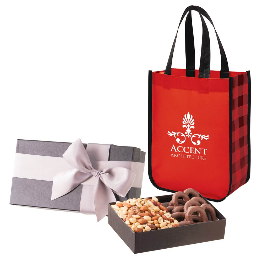 Executive Gift Set With Shiny Non-Woven Northwoods Tote Bag and Chocolate-Covered Pretzels & Mixed Nuts- Personalization Available