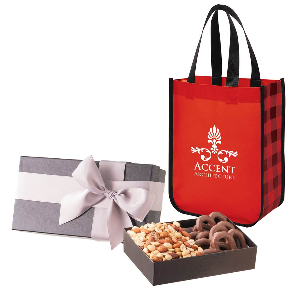 Executive Gift Set With Shiny Non-Woven Northwoods Tote Bag and Sea Salt Caramels & Peanut Crunch Squares - Personalization Available