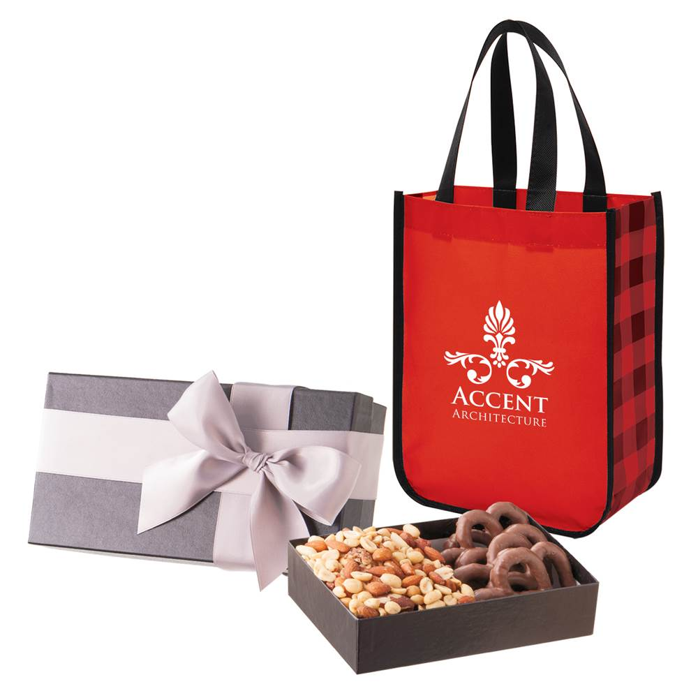 Executive Gift Set With Shiny Non-Woven Northwoods Tote Bag and Almond Butter Crunch & Caramel Cashew Turtles - Personalization Available