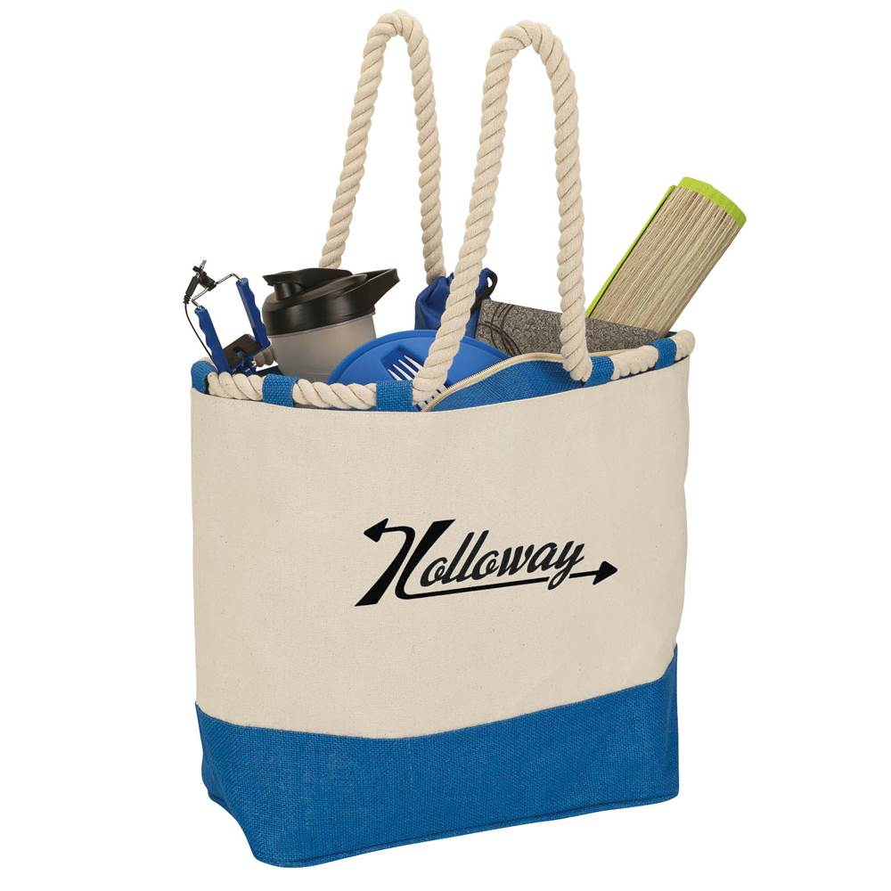 Barcelona Canvas & Jute Tote - Personalization Available