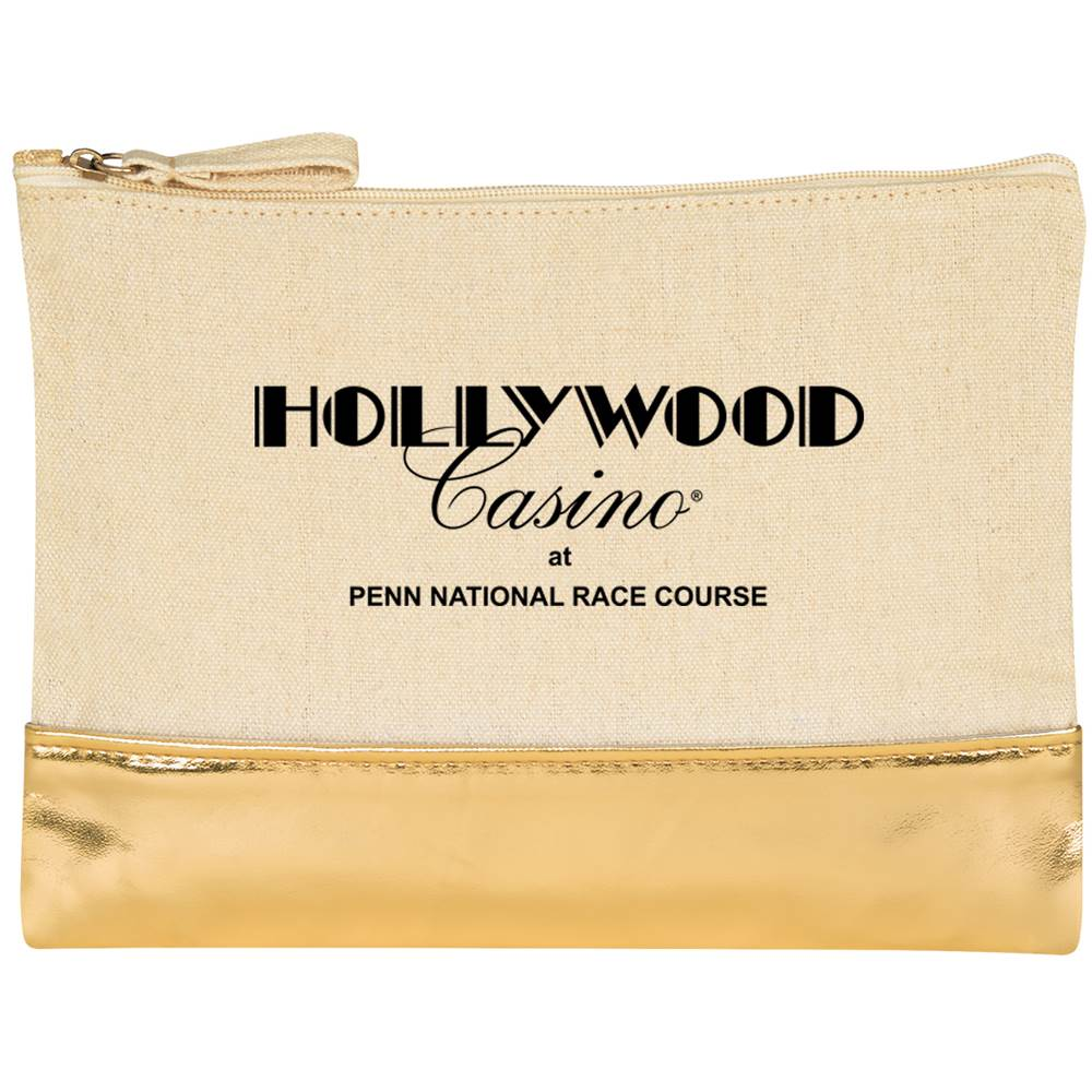 Cotton Cosmetic Bag 12-Oz. with Metallic Accent - Personalization Available