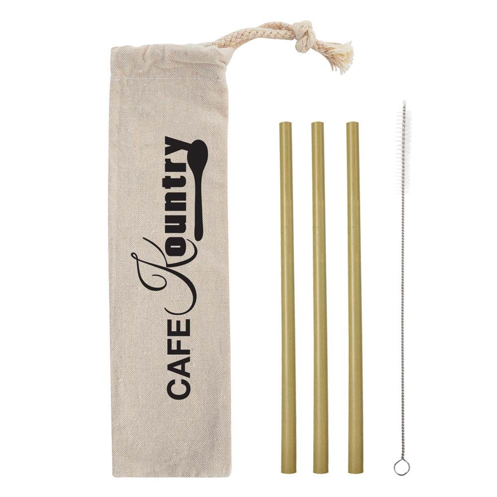 3-Pack Bamboo Straw Kit in Cotton Pouch - Personalization Available