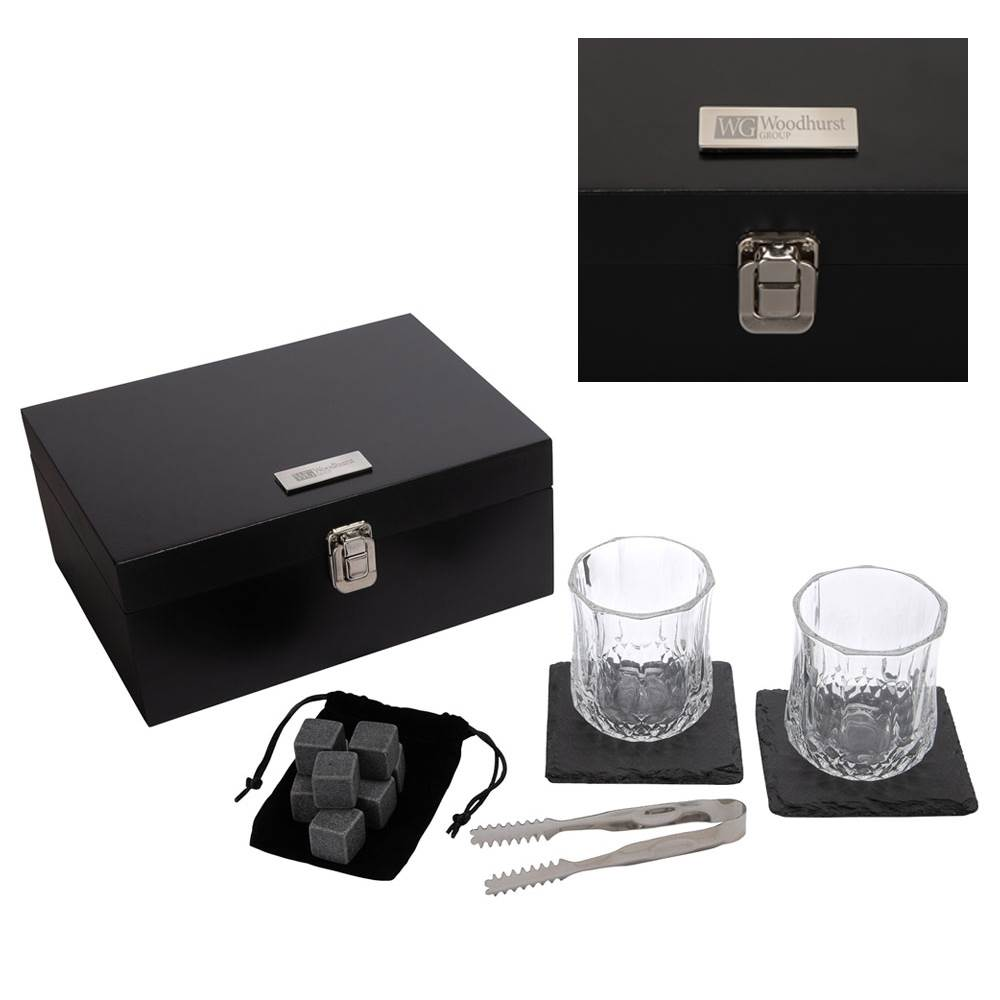 Johnnie 14-Piece Whiskey Set - Laser-Engraved Plate - Personalization Available