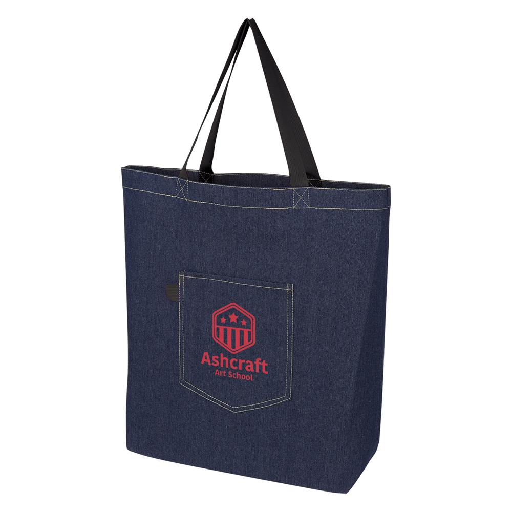 Demi Denim Tote Bag - Personalization Available