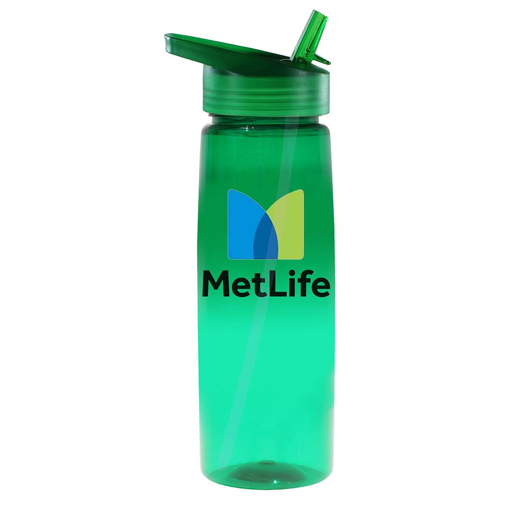 Poly-Saver PET Bottle with Straw Cap 30-Oz. - Full-Color Personalization Available
