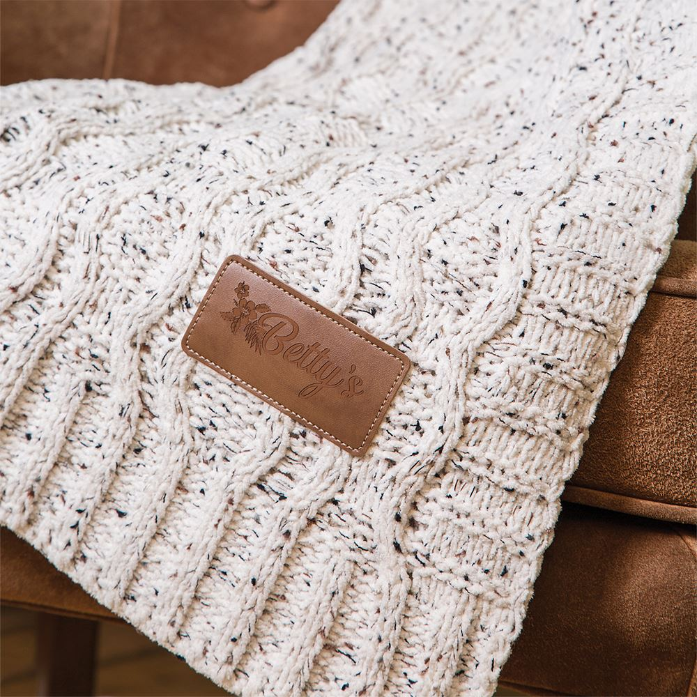 Vanilla Cookie Heather Cable Knit Chenille Blanket Throw- Debossed Personalization Available