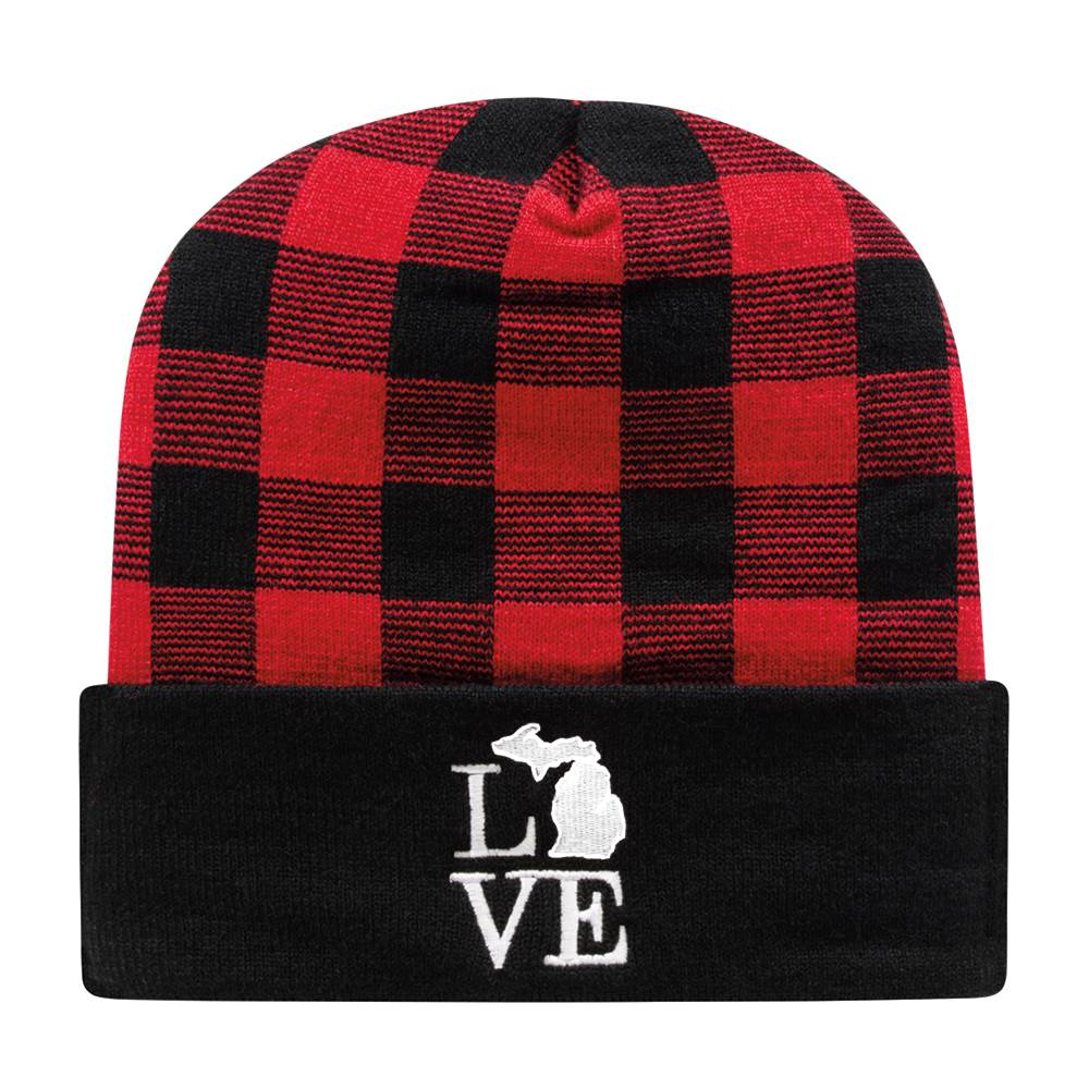 Cap America Buffalo Plaid Knit Cap with Cuff - Personalization Available