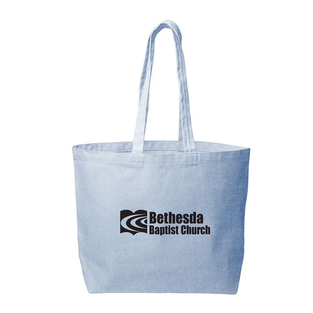 Continued Daily Grind Super Size Tote - Denim Canvas - Personalization Available