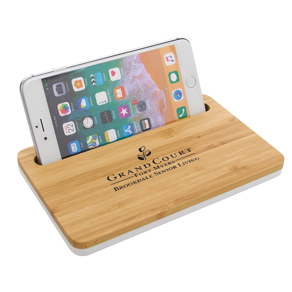 Bamboo Wireless Charging Pad With Phone Stand - Personalization Available