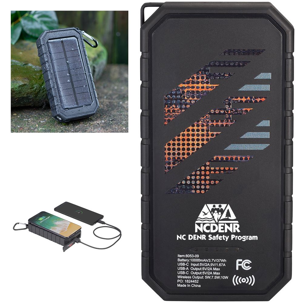 High Sierra IPX 5 Solar Fast Wireless Power Bank - Personalization Available