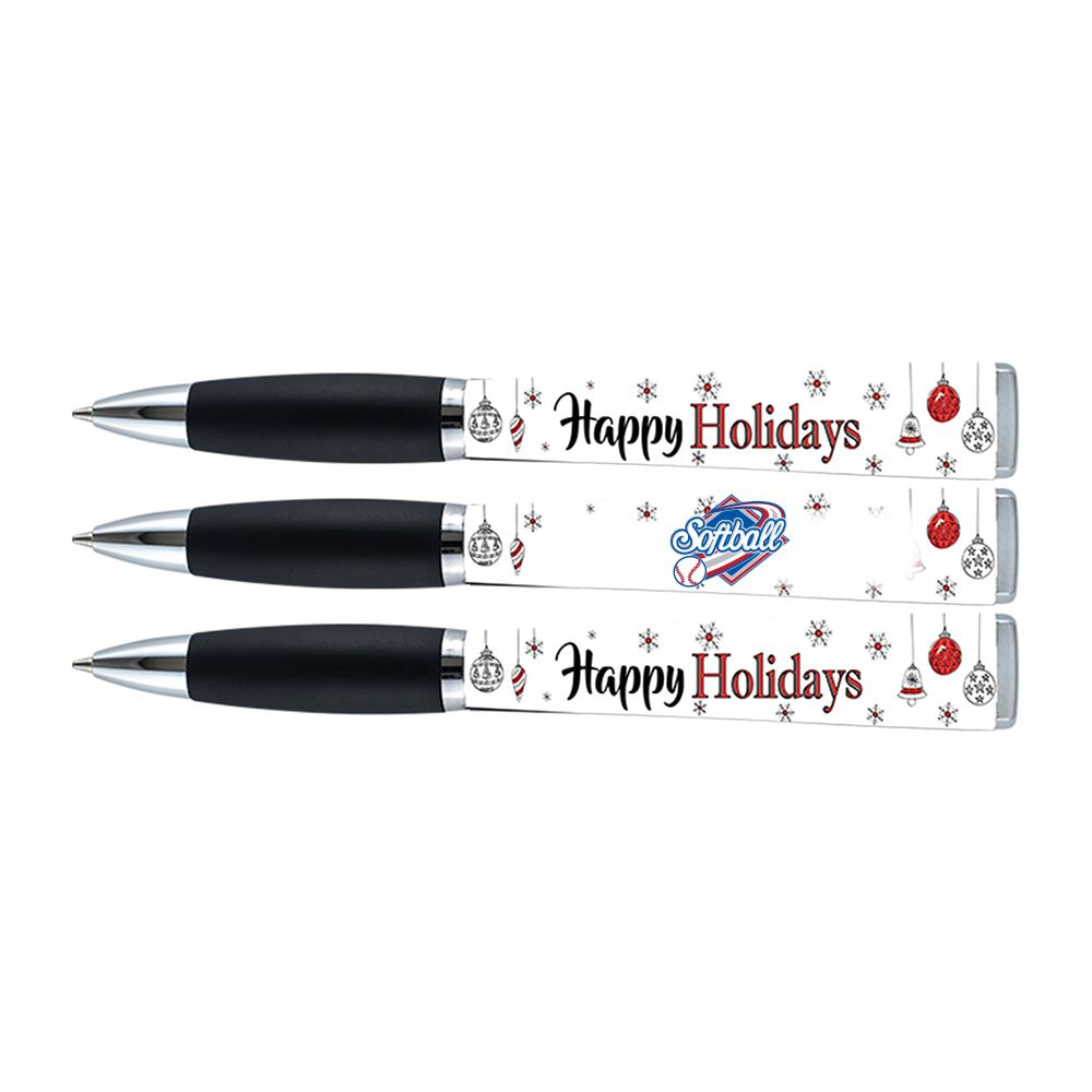 Snowflakes Happy Holidays Three-Sided Ad Pen