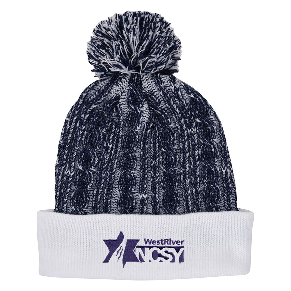 Casey Cable knit Pom Beanie With Cuff - Personalization Available