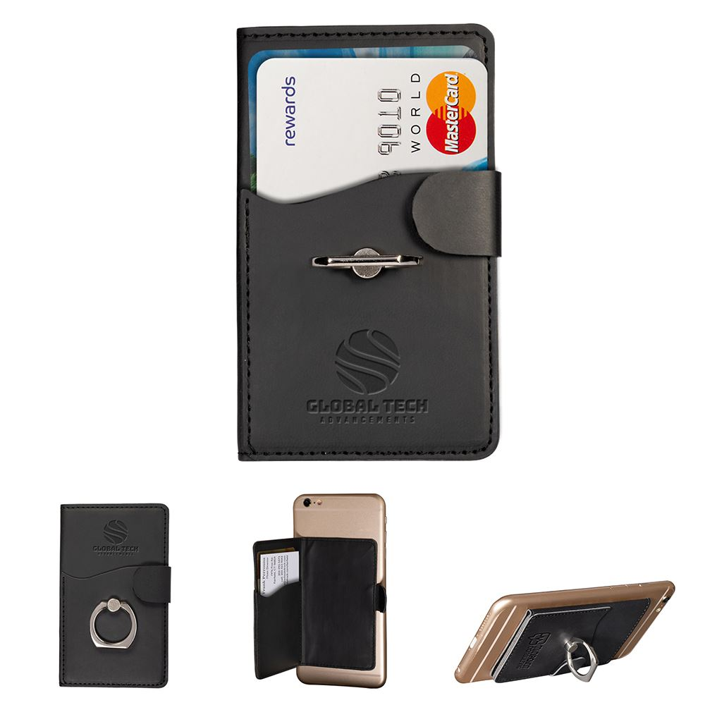 Black Tuscany™ Dual Card Pocket With Metal Ring - Personalization Available