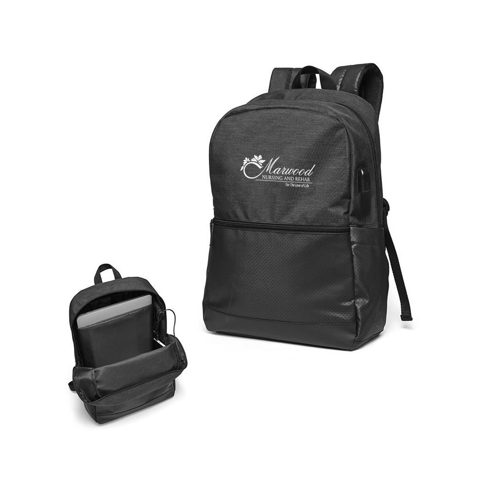 Black Tech Squad USB Backpack - Personalization Available
