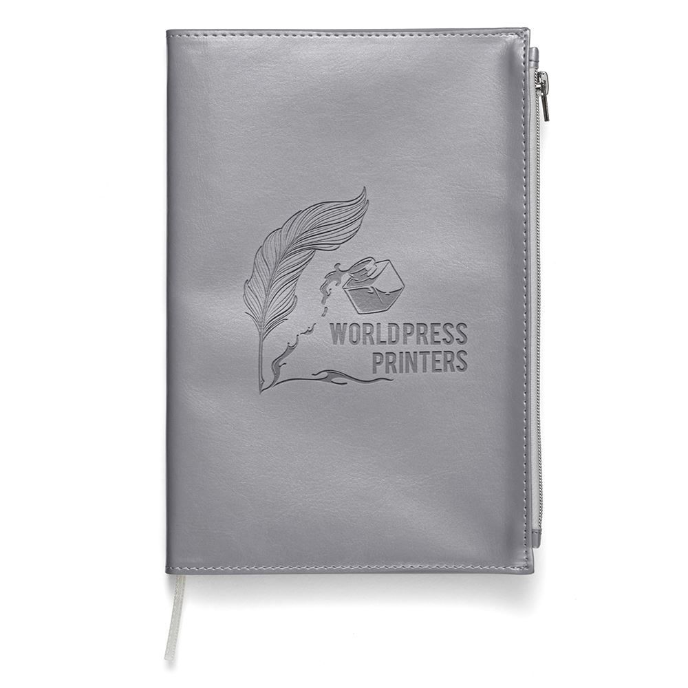 Softbound Metallic Foundry Journal With Zipper Pocket - Personalization Available