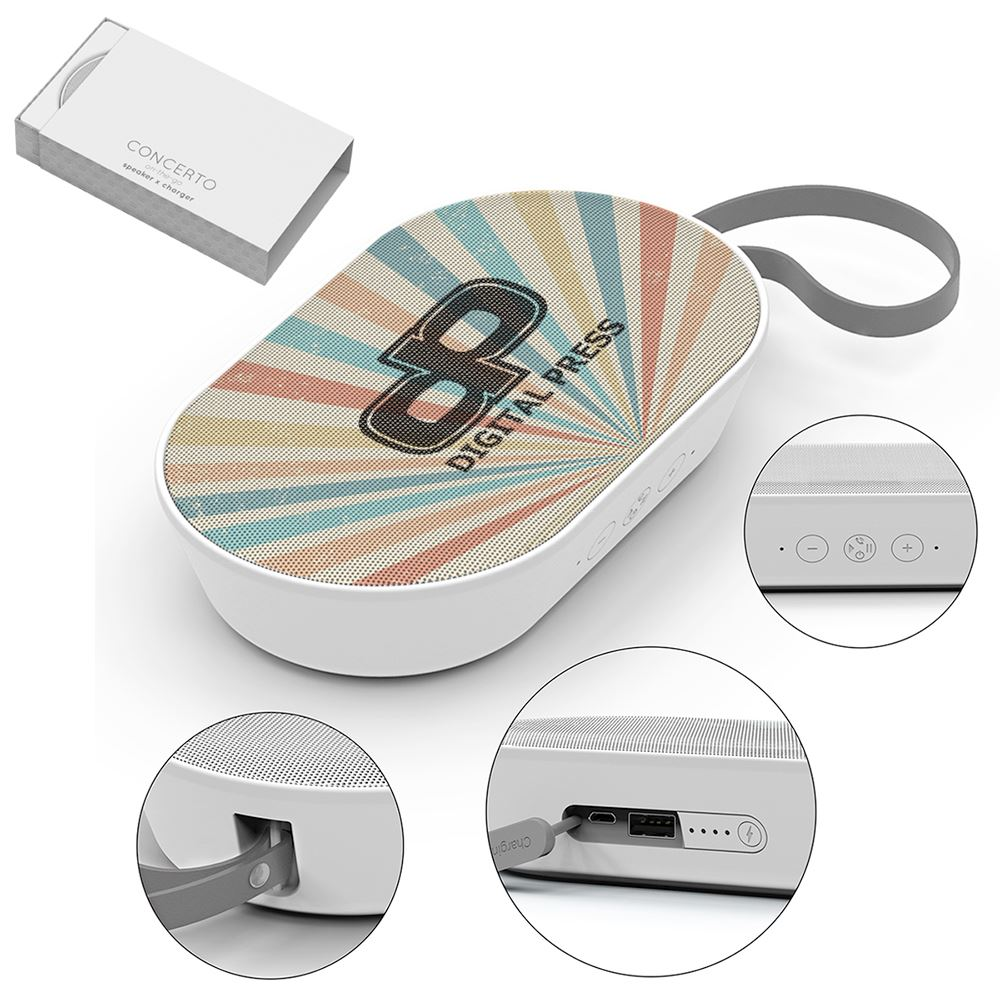 Concerto Speaker And Power Bank - Full-Color Personalization Available