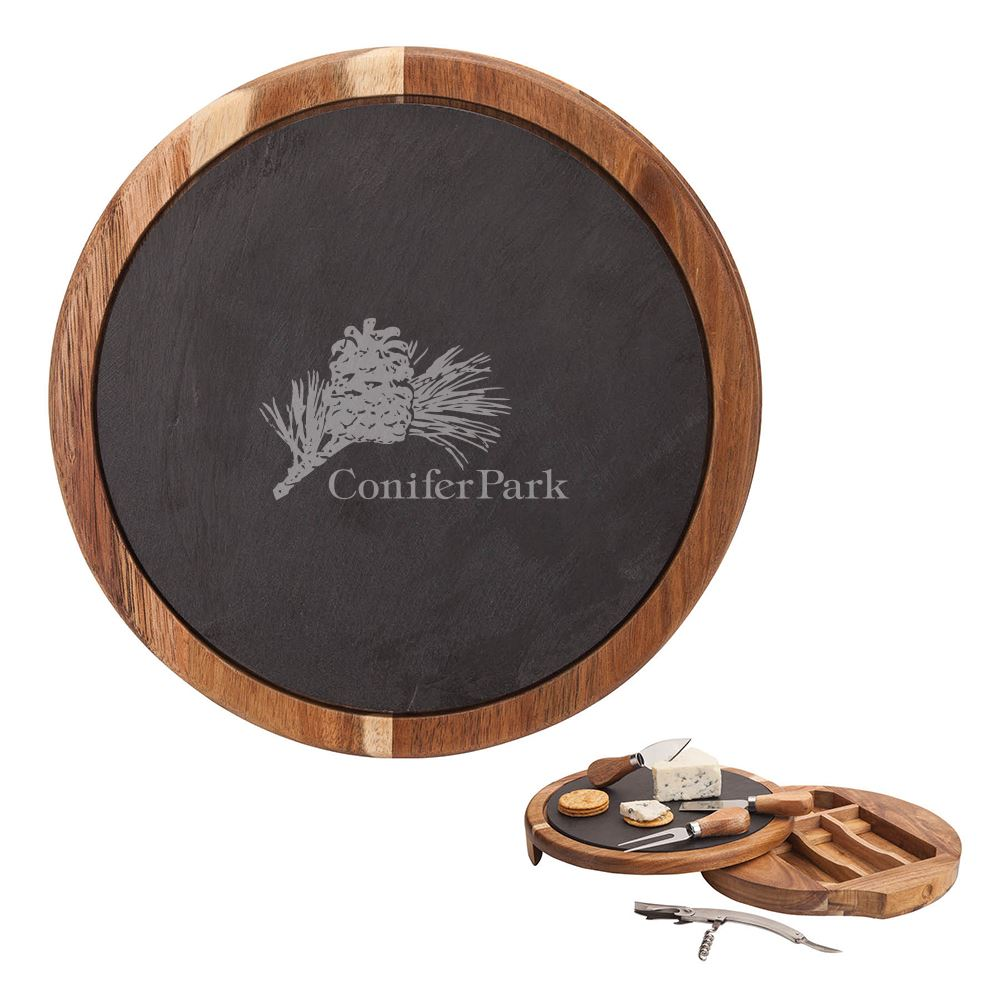 Normandy Swivel Base Cheese/Wine Set - Personalization Available
